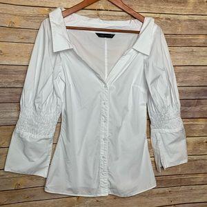 [Zara] White Off The Shoulder Button Down Top